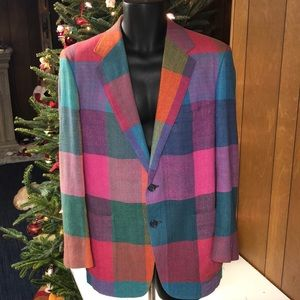 Vintage Harry Lebow Bold Colorful Wool Blazer L